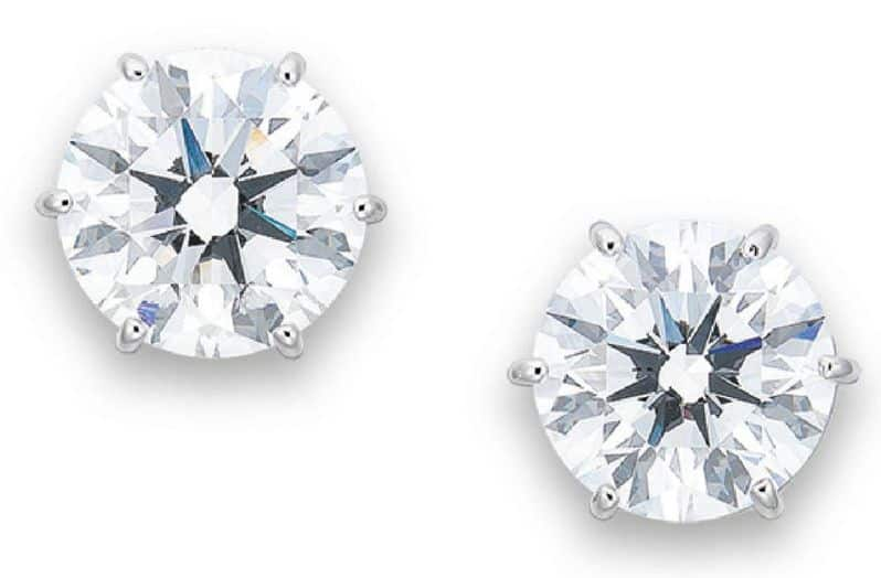 LOT 2070 - AN IMPORTANT PAIR OF DIAMOND EAR STUDS