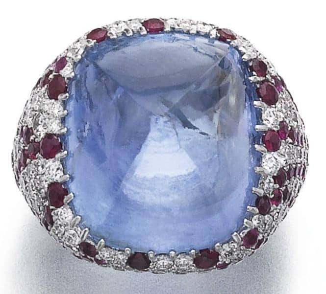 LOT 798 - SAPPHIRE, RUBY AND DIAMOND RING, MICHELE DELLA VALLE