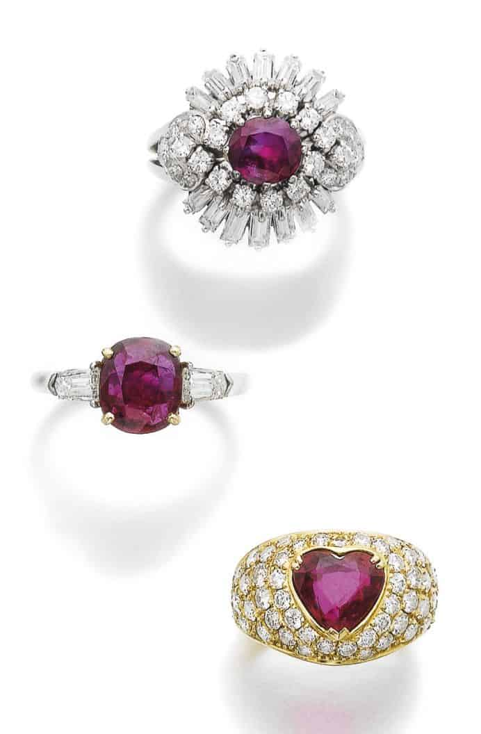 LOT 513 - THREE RUBY AND DIAMOND RINGS