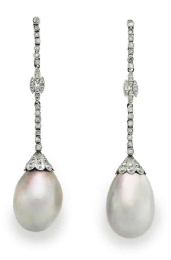 LOT 190 -A PAIR OF NATURAL PEARL AND DIAMOND EAR PENDANTS