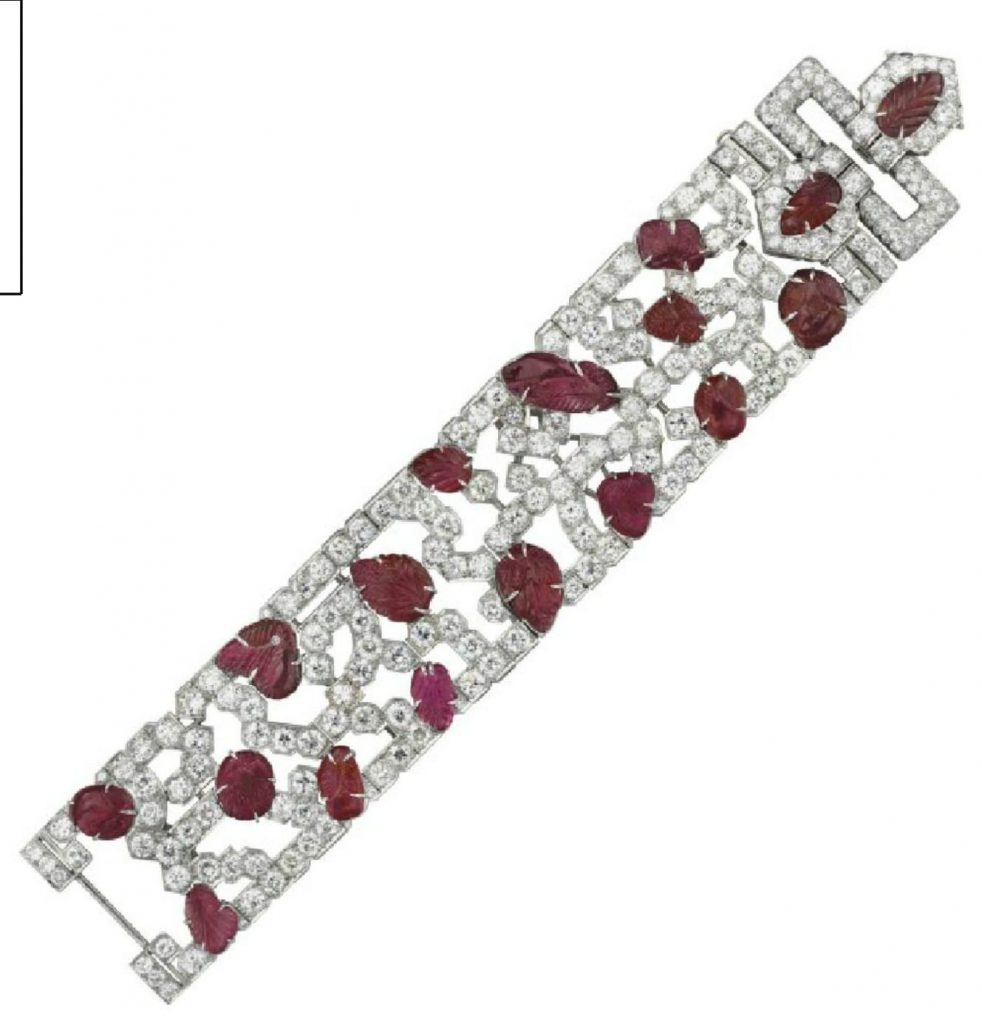 LOT 72 - AN ART DECO RUBY AND DIAMOND BRACELET, BY J.E. CALDWELL & CO