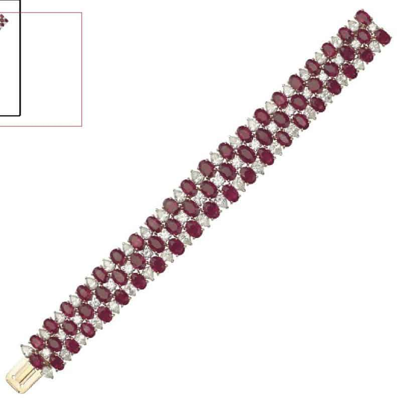 LOT - 88 - A RUBY AND DIAMOND BRACELET, BY CARTIER