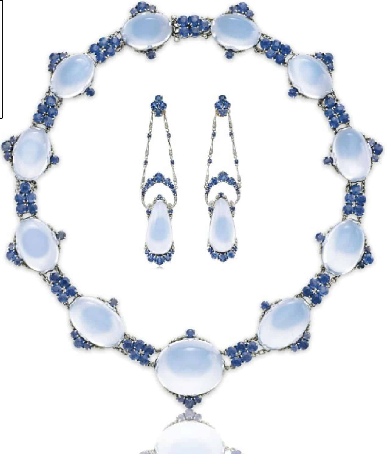 LOT 134 - AN IMPRESSIVE SET OF MOONSTONE AND SAPPHIRE JEWELRY, BY LOUIS COMFORT TIFFANY, TIFFANY & CO