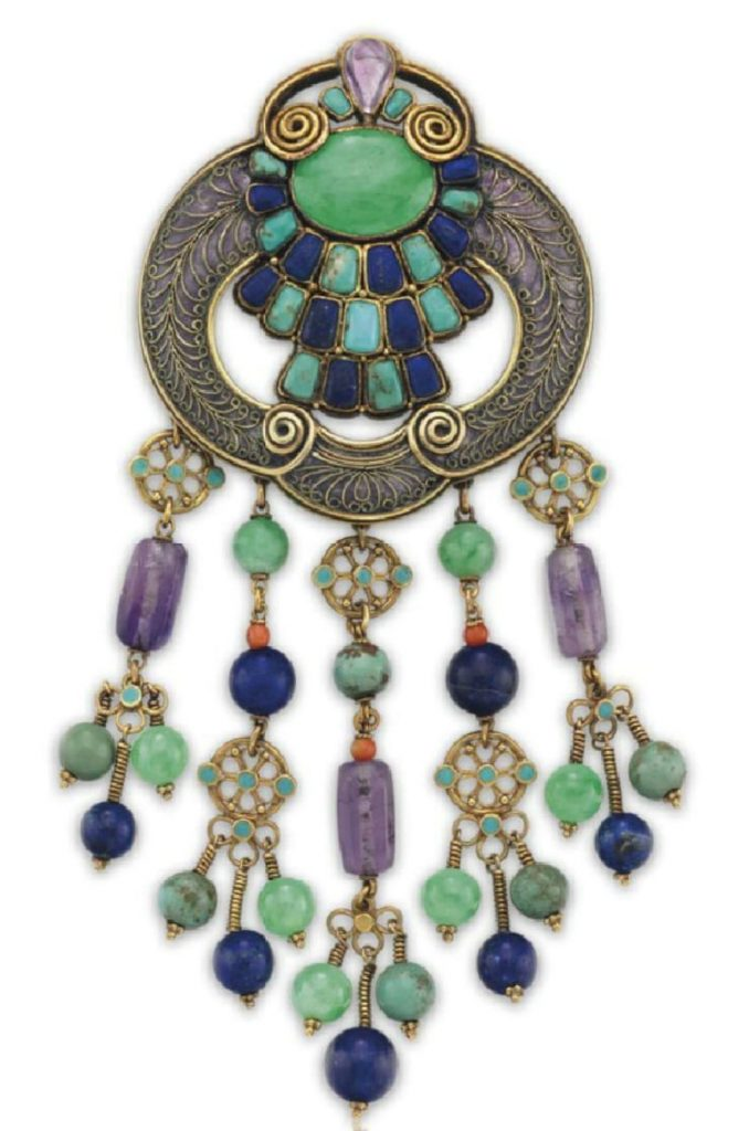 LOT 147 - A MULTI-GEM, ENAMEL AND GOLD BROOCH, BY LOUIS COMFORT TIFFANY, TIFFANY & CO.