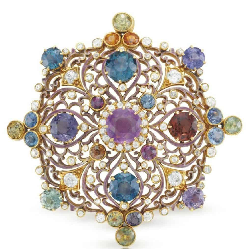 LOT 171 - AN ANTIQUE RENAISSANCE REVIVAL MULTI-COLORED SAPPHIRE AND DIAMOND PENDANT BROOCH, BY PAULDING FARNHAM
