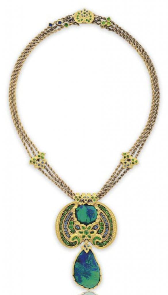 LOT 184 -A BLACK OPAL, DEMANTOID GARNET, SAPPHIRE AND ENAMEL NECKLACE, BY LOUIS COMFORT TIFFANY, TIFFANY & CO