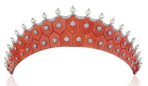 LOT 272 - AN EXQUISITE CORAL, DIAMOND AND PEARL TIARA, BY CARTIER