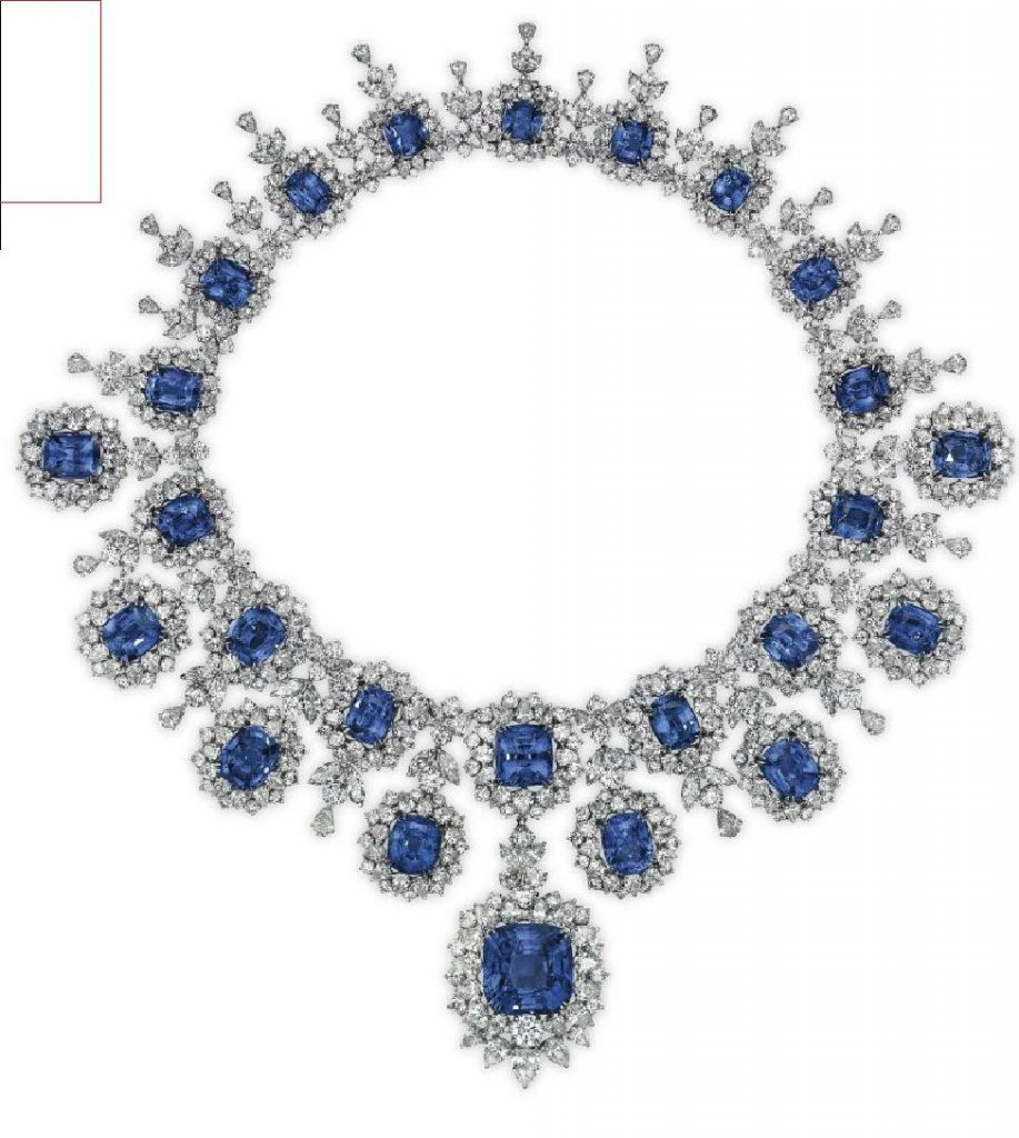 LOT 251 - SAPPHIRE AND DIAMOND FRINGE NECKLACE OF THE JEWELRY SUITE
