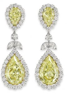 LOT 114 - AN IMPRESSIVE PAIR OF COLORED DIAMOND AND DIAMOND EAR PENDANTS, BY BULGARI