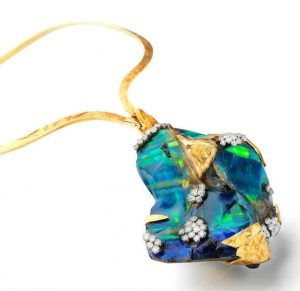 LOT 36 - A GOLD, BOULDER OPAL AND DIAMOND PENDANT/NECKLACE, by Grima, 1972