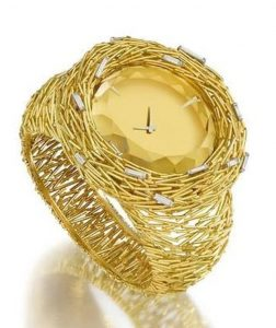 Lot 47 - A UNIQUE 18 CARAT GOLD, CITRINE AND DIAMOND WATCH/BANGLE, 'CERINI', NO 80 FROM THE ABOUT TIME COLLECTION, by Grima, 1969