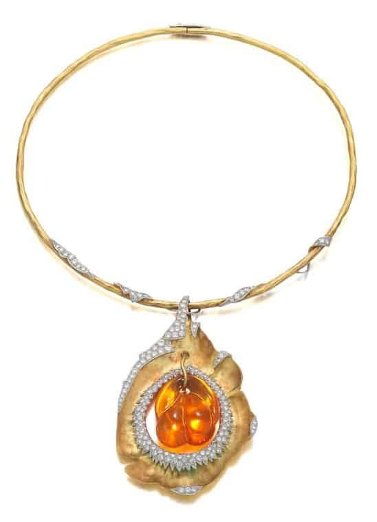 LOT 54 - AN 18 CARAT GOLD, FIRE OPAL AND DIAMOND PENDANT/NECKLACE, by Grima, 1991