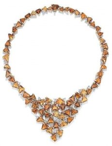 LOT 55 - AN 18 CARAT GOLD, CITRINE AND DIAMOND NECKLACE, by Grima, 1974