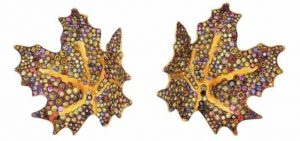 BEST USE OF COLOR - NAOMI SARNA DESIGNS - 18K AND 24K YELLOW AND 18K WHITE GOLD MAPLE LEAF EARRINGS
