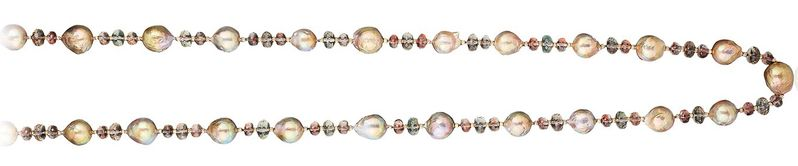 BEST USE OF PEARLS - NAOMI SARNA, FRESHWATER CULTURED PEARLS STRUNG WITH SUNSTONE BEADS