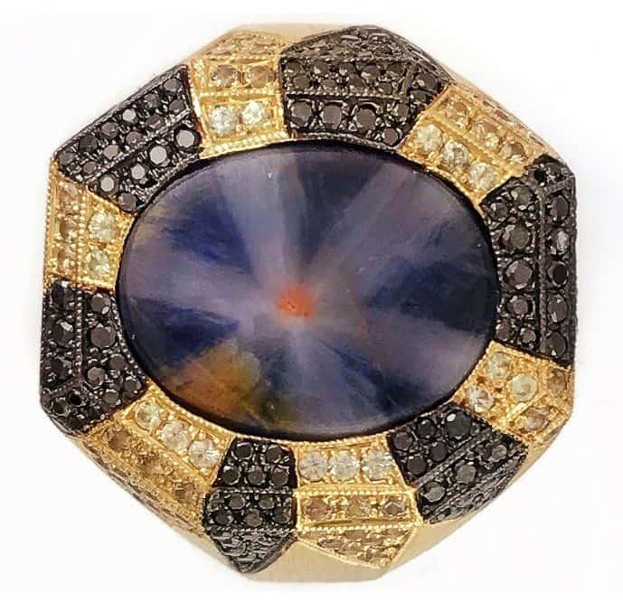 MEN'S WEAR 1ST PLACE - RICARDO EICHBERG INC. 18K YELLOW GOLD WITH BLACK RHODIUM ESTRELLA RING