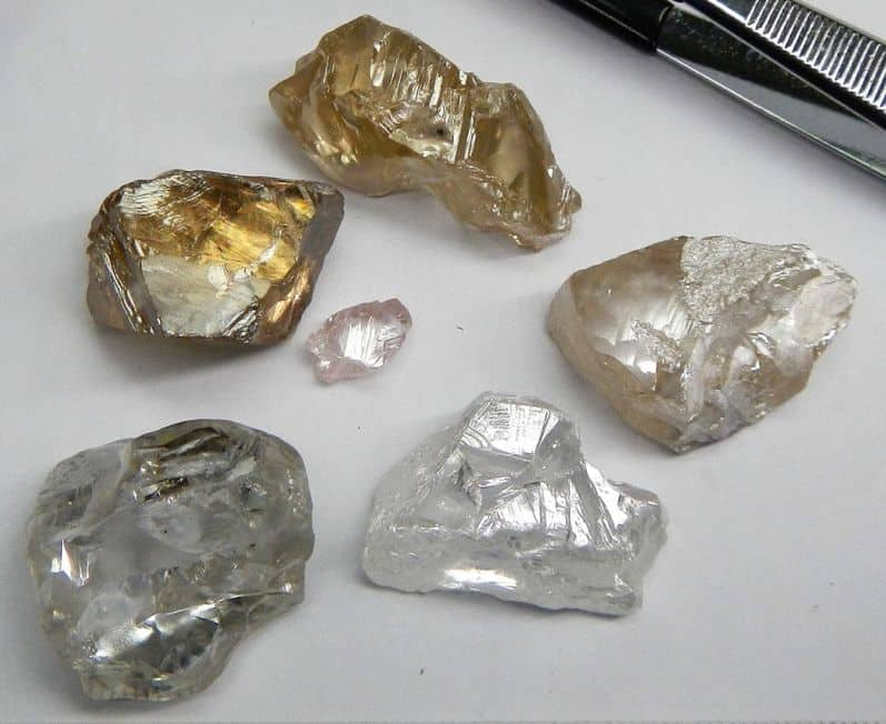 FIVE OF THE +50 CARAT RECENT LULO DIAMOND RECOVERIES