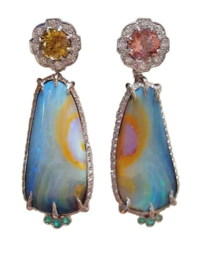 BRIDAL WEAR 2nd PLACE & WJA GEM DIVA AWARD LINDSAY JANE BUTTERFLY EARRINGS WITH DETACHABLE DROPS OF BOULDER OPALS