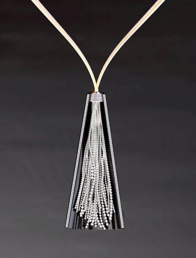BRIDAL WEAR HONOURABLE MENTION - ZOLTAN DAVID KNIGHT STEEL, 18K & 24K YELLOW GOLD, AND PLATINUM FALLING WATERS NECKLACE