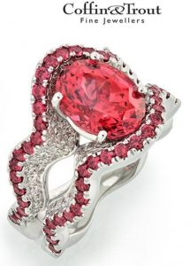 BRIDAL WEAR MANUFACTURING HONORS - RANDY COFFIN, PLATINUM RING WITH 4.42-CARAT OVAL RED SPINEL ACCENTED WITH ROUND RED SPINELS AND DIAMONDS