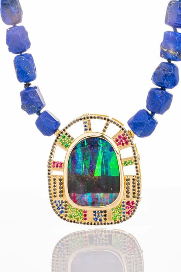 BUSINESS/DAY WEAR 2ND PLACE, LLYN STRONG, LAPIS LAZULI NECKLACE FEATURING 30.90 CT. BOULDER OPAL ACCENTED WITH BLACK DIAMONDS, TSAVORITE GARNETS, RUBIES AND SAPPHIRES