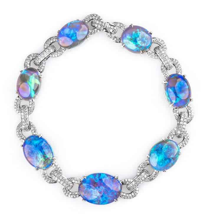 BUSINESS/DAY WEAR PLATINUM HONORS, JOHN FORD, PLATINUM BRACELET FEATURING BLACK OPALS ACCENTED WITH DIAMONDS