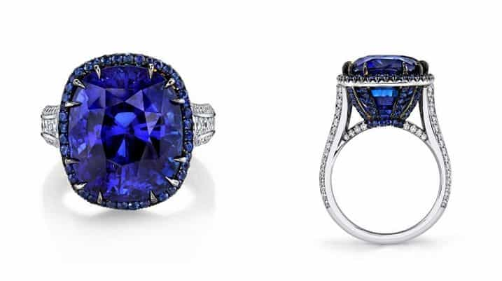 CLASSICAL 2ND PLACE. NIVEET NAGPAL, PLATINUM AND BLACK RHODIUM RING SET WITH 20.03 CT. CUSHION-CUT BLUE SAPPHIRE