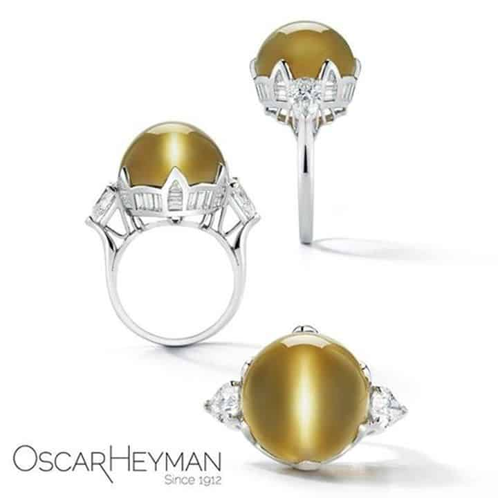 ICAL 3RD PLACE, OSCAR HEYMAN PLATINUM RING SET WITH 32.30 CT. CAT'S EYE CHRYSOBERYL