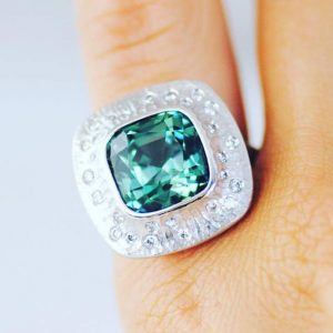 CLASSICAL PLATINUM HONORS, MICHAEL ENDLICH, PLATINUM DEEP LAGOON RING SET WITH 8.33 CT. TOURMALINE ACCENTED WITH DIAMONDS