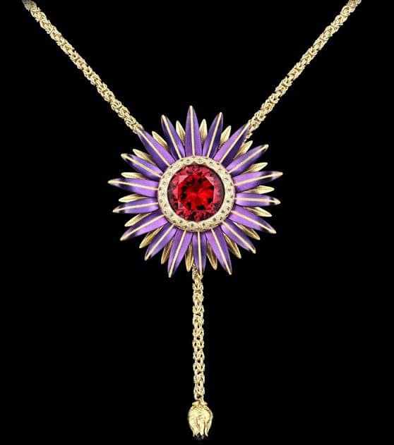 EVENING WEAR HONORABLE MENTION, ZOLTAN DAVID 24K YELLOW GOLD, PALLADIUM, PURPLE STEEL AND 18K YELLOW GOLD STAR FLOWER NECKLACE