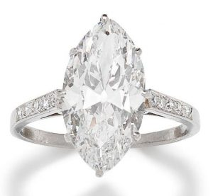 LOT 181 - DIAMOND SINGLE STONE RING, SET WITH 4.61-CARAT, OLD MARQUISE-CUT, D-COLOR, VVS-2 CLARITY DIAMOND