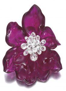 LOT 1747 - IMPRESSIVE RUBELLITE AND DIAMOND BROOCH / PENDANT, 'ORCHID', CARTIER 2011
