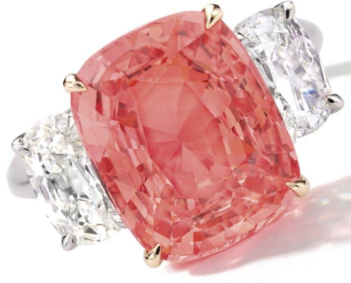 LOT 1683 - PADPARADSCHA SAPPHIRE AND DIAMOND RING