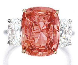 LOT 1683 - ANOTHER VIEW OF THE PADPARADSCHA SAPPHIRE AND DIAMOND RING