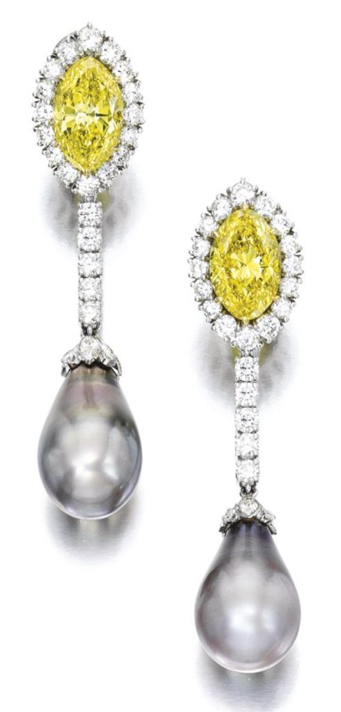 LOT 1849 - FINE PAIR OF NATURAL PEARL, FANCY VIVID YELLOW DIAMOND AND DIAMOND PENDENT EAR CLIPS, HARRY WINSTON