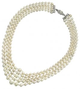 LOT 1855 - NATURAL PEARL AND DIAMOND NECKLACE