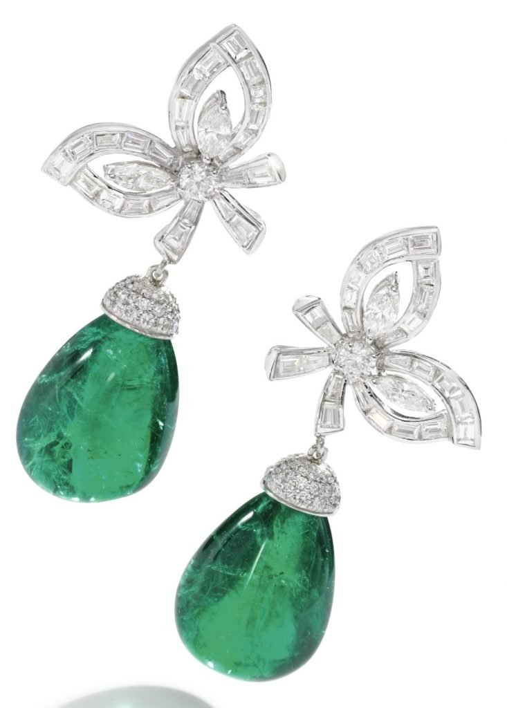 LOT 271 - PAIR OF EMERALD AND DIAMOND EARRINGS