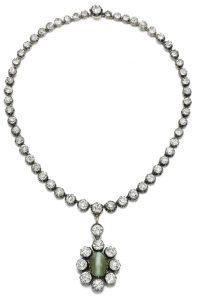 LOT 3 - DIAMOND AND CAT'S EYE CHRYSOBERYL PENDANT NECKLACE, SECOND HALF 19TH CENTURY