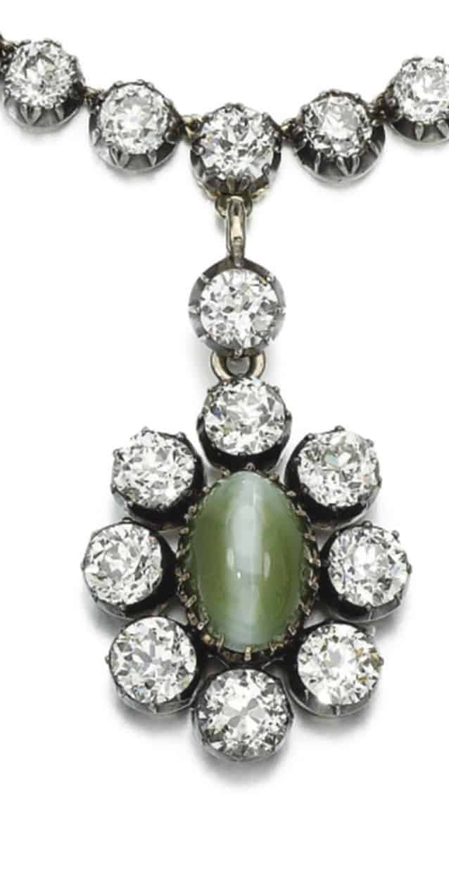 LOT 3 - PENDANT OF DIAMOND AND CAT'S EYE CHRYSOBERYL NECKLACE ENLARGED