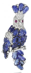 LOT 295 - SAPPHIRE, RUBY AND DIAMOND BROOCH, CARTIER, 1960S