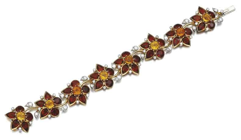 LOT 182 - CITRINE AND DIAMOND BRACELET, CARTIER, 1940S
