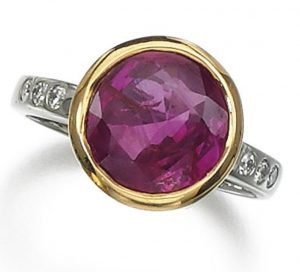LOT 142 - RUBY AND DIAMOND RING