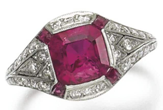 LOT 65 - RUBY AND DIAMOND RING, TIFFANY & CO., EARLY 20TH CENTURY