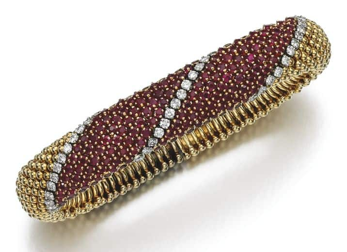 "LOT 188 - RUBY AND DIAMOND BRACELET, ""PELOUSE"" VAN CLEEF & ARPELS, 1960S"