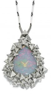 Lot 137 - Opal and diamond watch pendant, 'About Time', Grima, 1970s