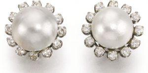 LOT295 - VIVIEN'S NATURAL PEARL AND DIAMOND EARRINGS