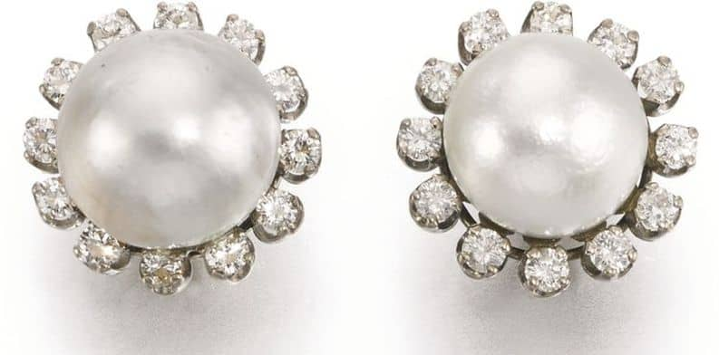 LOT295 - VIVIEN'S NATURAL PEARL AND DIAMOND EARRINGS