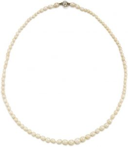 LOT 294 - VIVIEN'S NATURAL PEARL AND DIAMOND NECKLACE