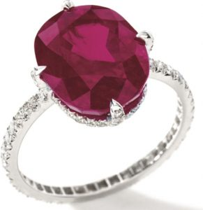 LOT-1750 - EXQUISITE RUBY AND DIAMOND RING, JAR