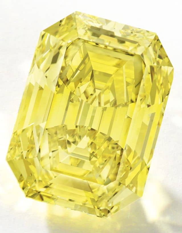 LOT - 1698 - IMPORTANT FANCY VIVID YELLOW DIAMOND RING